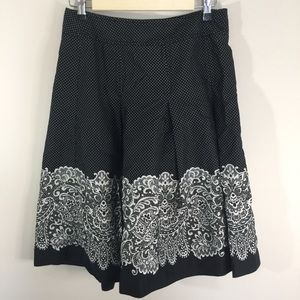 🌞Talbots Polkadot and Lace Print Midi Skirt Sz 4